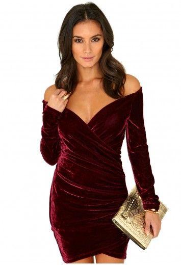 Missguided - Ciela Bardot Velvet Cross Over Mini Dress In Burgundy ... 9b696cf37