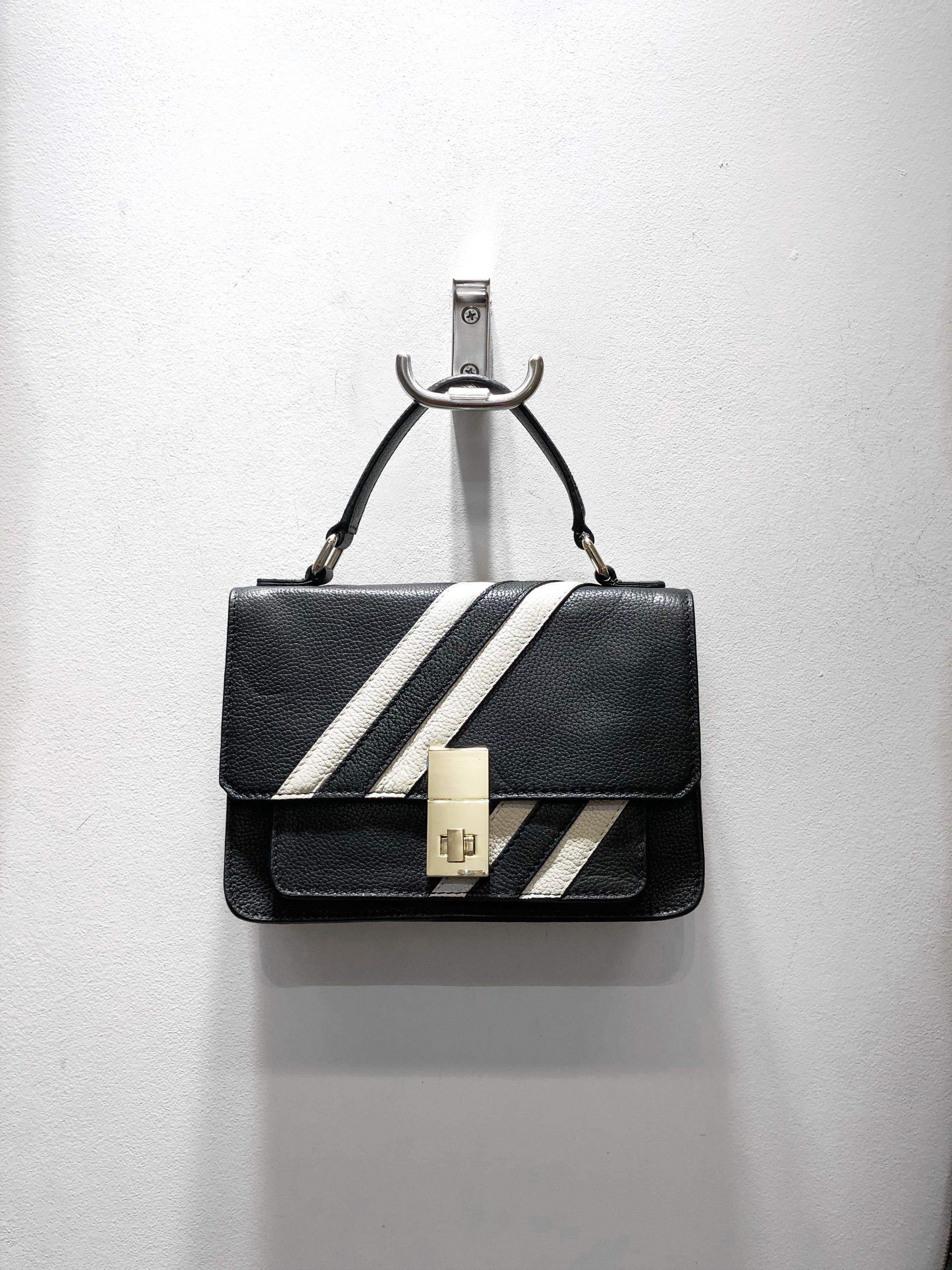 Leather Stripe Shoulder Bag From Amanda Lamb For Qvc Uk Handbagsqvcuk Leather Backpack Purse Trendy Purses