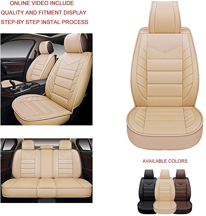 Amazonsmile Oasis Auto Os 003 Leather Car Seat Covers Faux Leatherette Automotive Vehicle In 2021 Leather Car Seat Covers Leather Car Seats Car Interior Accessories
