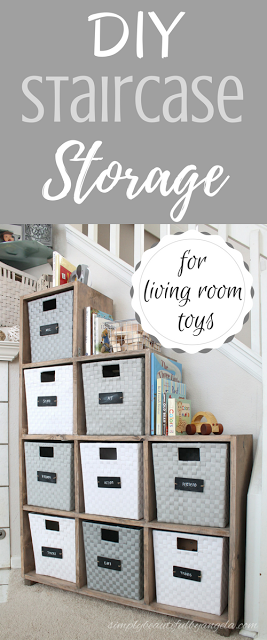 Diy Staircase Storage Unit For Living Room Toys Simply Beautiful By Angela Staircase Storage Living Room Storage Toy Organization Living Room