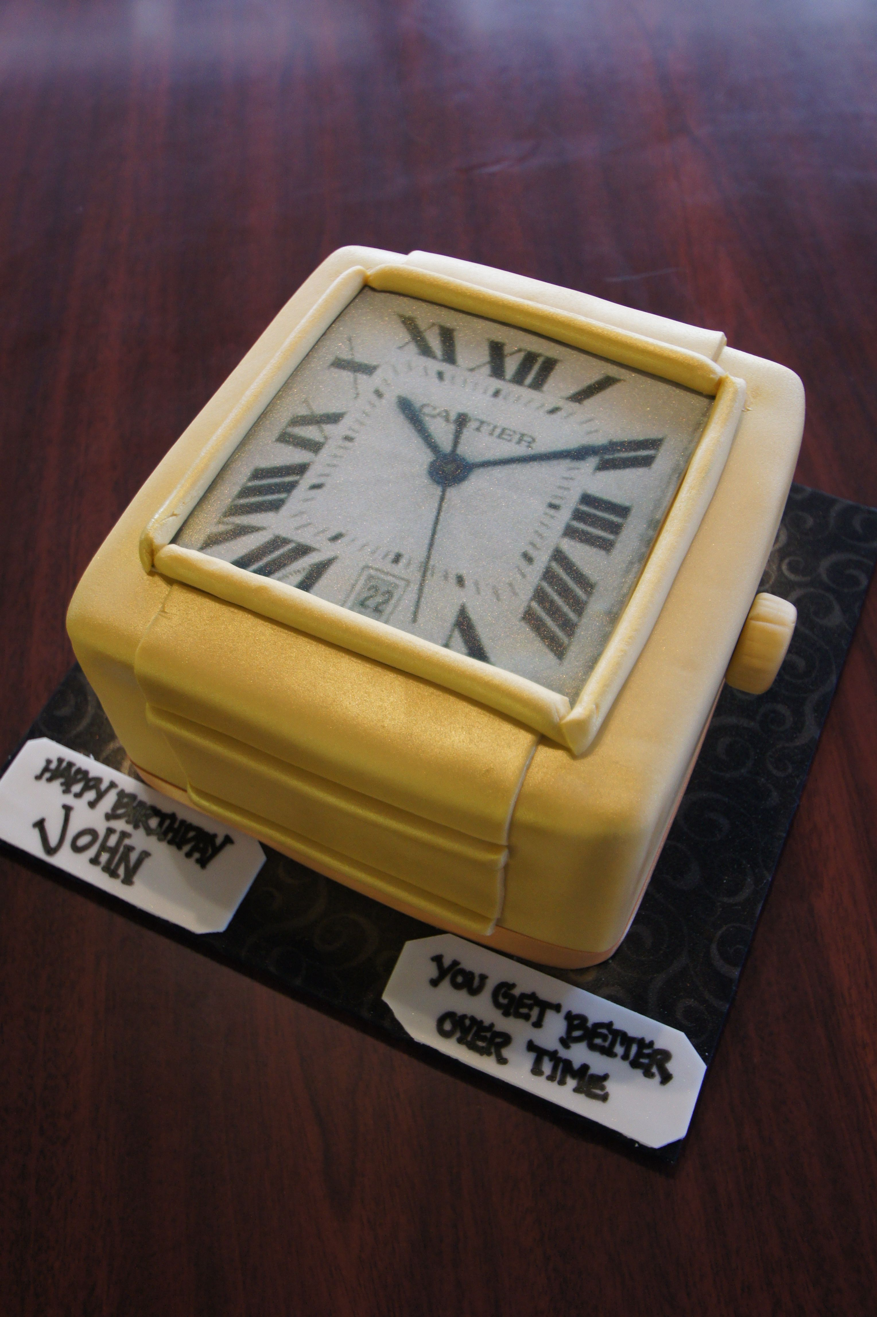 Square Cartier Watch Face Birthday Cake Adult Birthday Cakes In