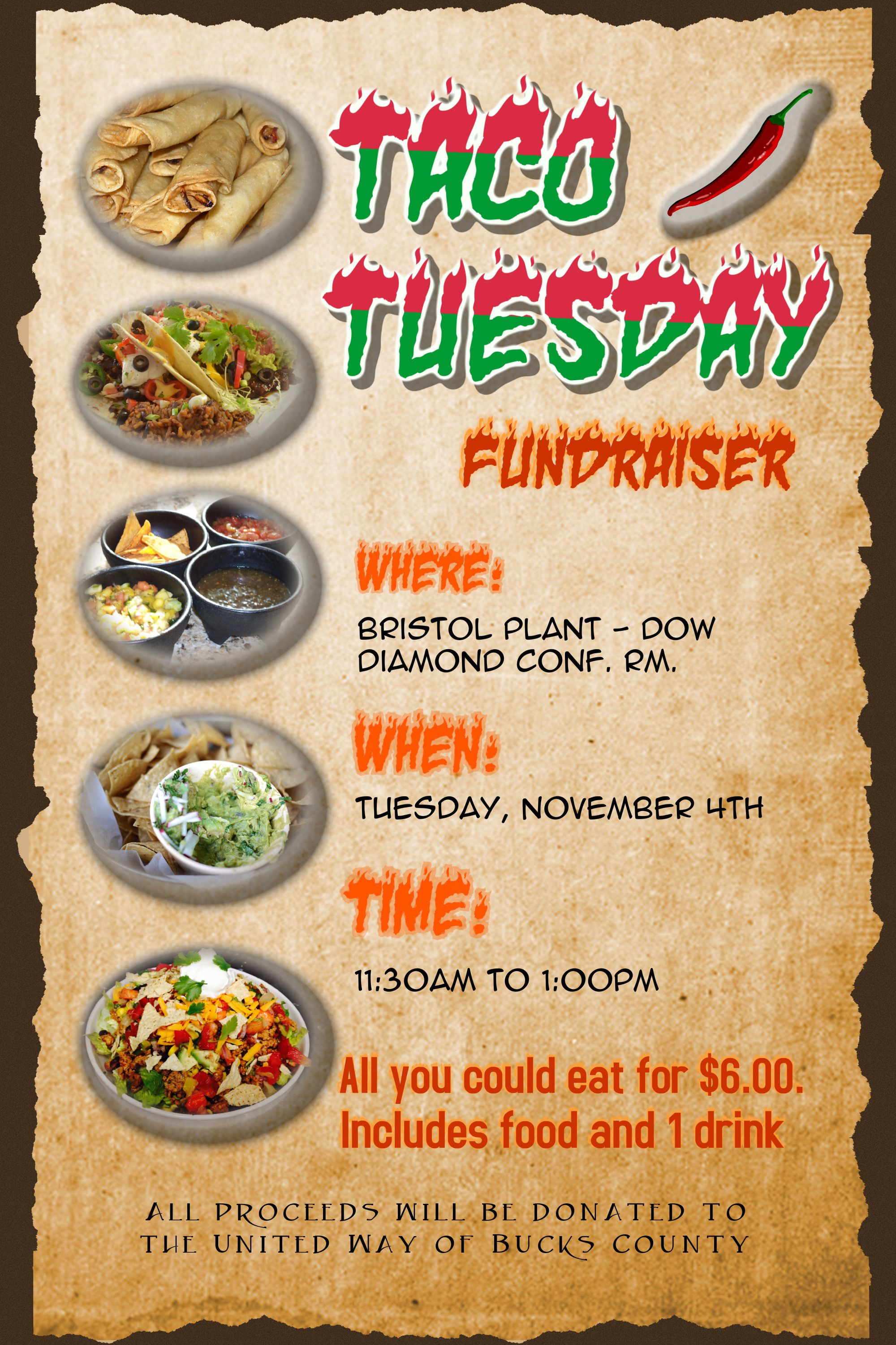 Fundraising Taco Tuesday Flyer For United Way  Cards Invites