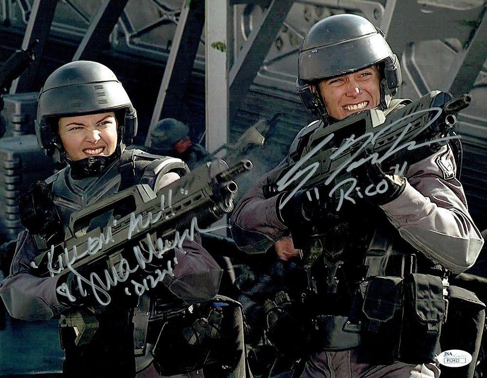 """CASPER VAN DIEN & DINA MEYER  Signed  """"STARSHIP TROOPER"""" 11X14  JSA #P12413"""