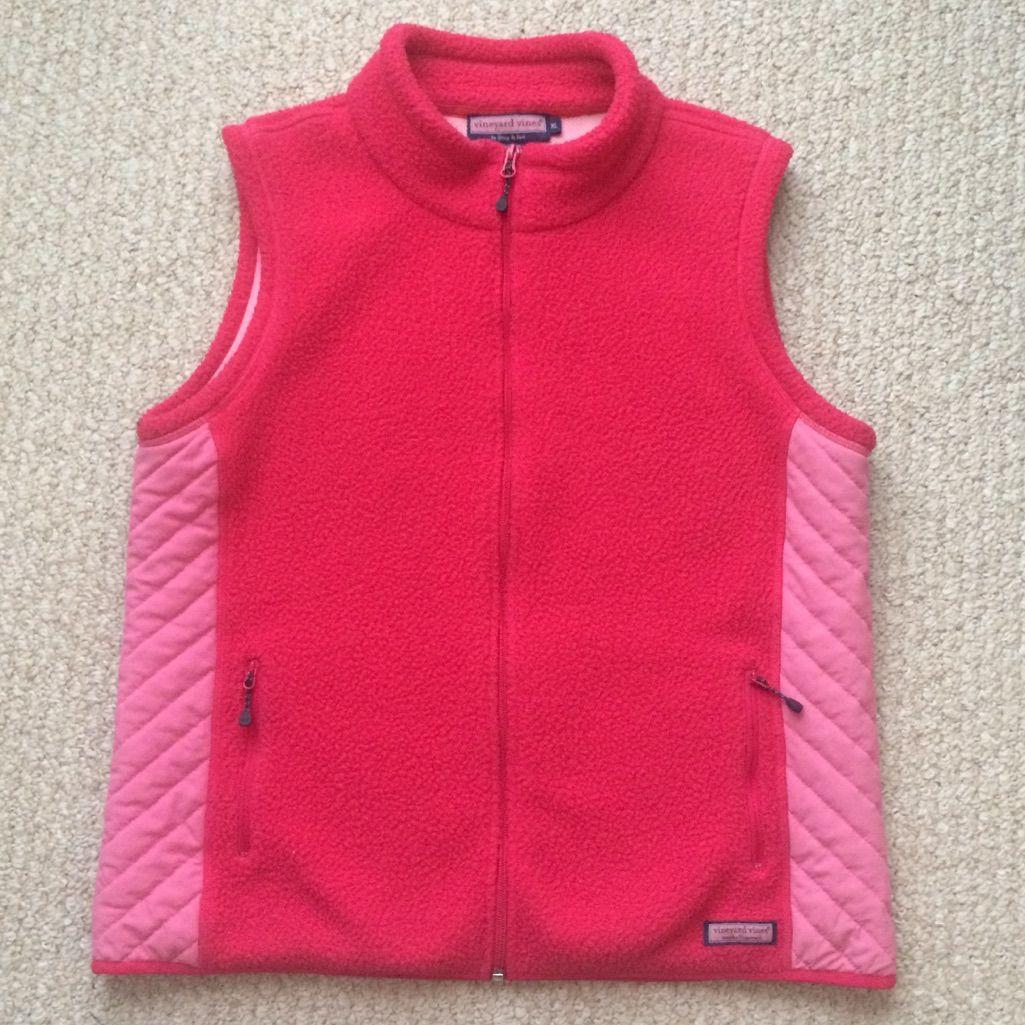 Vineyard vines pink fleece vest zip quilted products pinterest