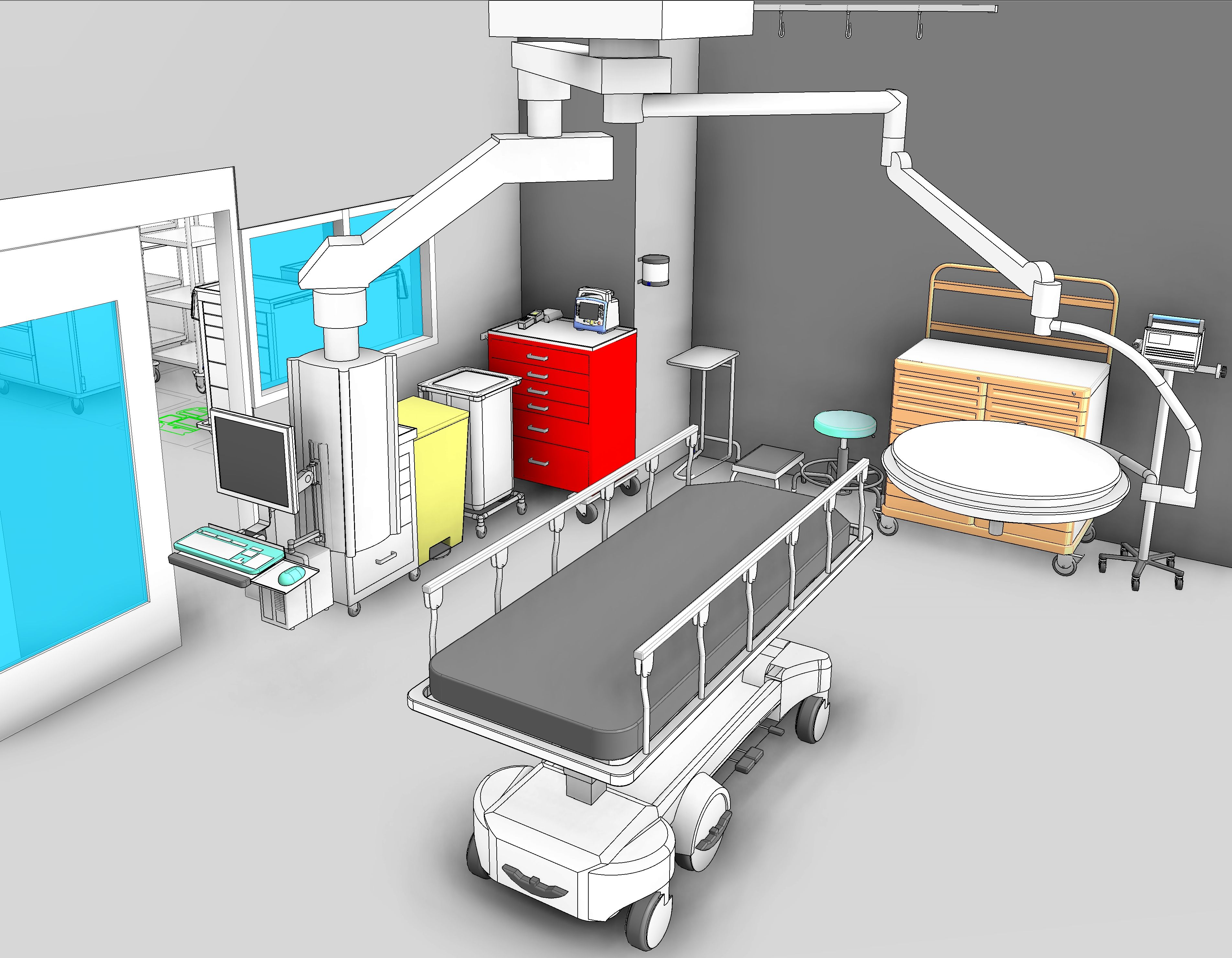 An Emergency Center Trauma Room. 3D Revit medical equipment families created and placed by Korbel  sc 1 st  Pinterest & An Emergency Center Trauma Room. 3D Revit medical equipment families ...