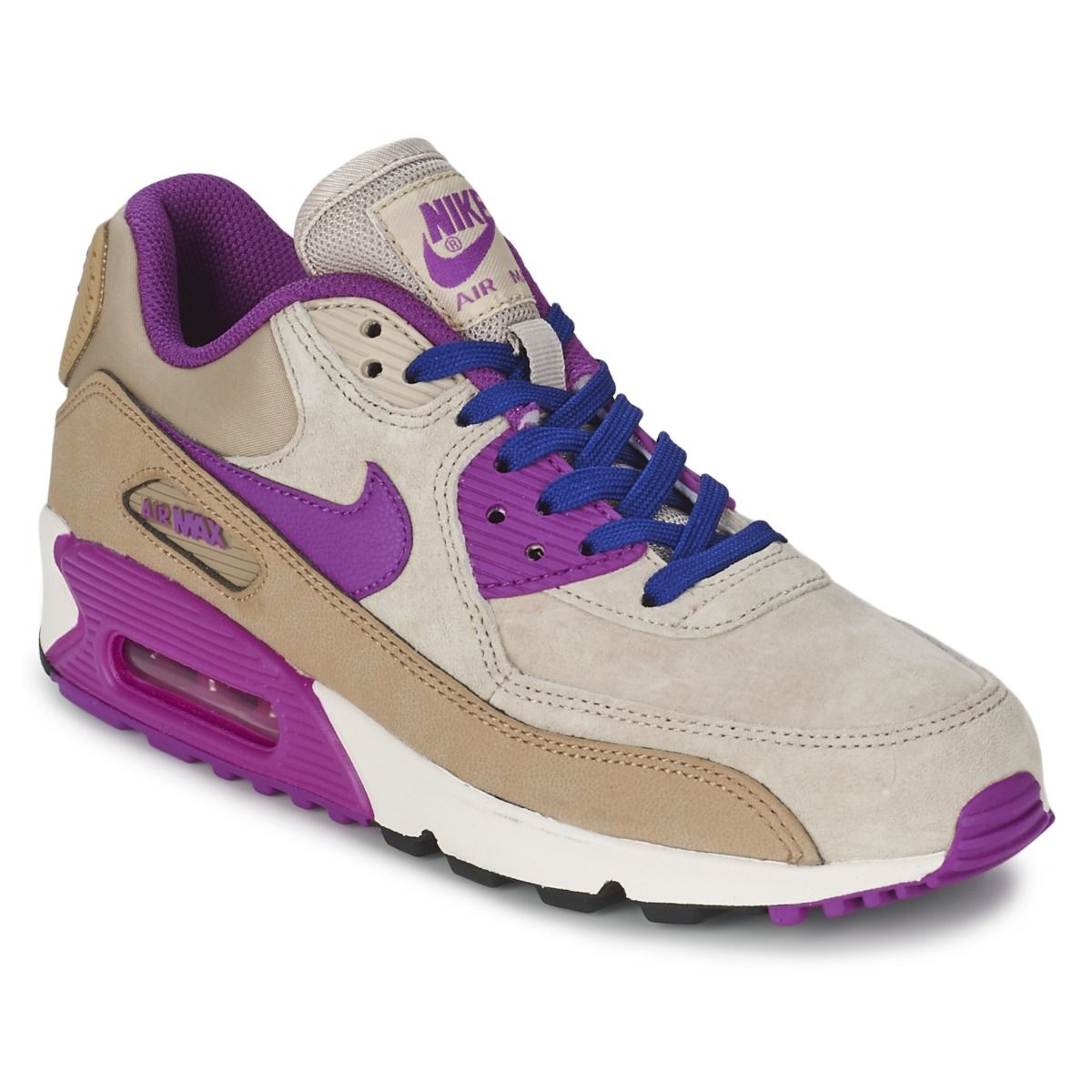 newest aa1d6 96a27 Baskets basses Nike AIR MAX 90 LEATHER W Beige   Violet prix promo Baskets  Femme Spartoo 145.00 €
