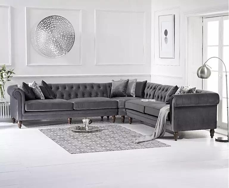 Limoges Grey Velvet Corner Sofa Grey Corner Sofa Chesterfield Sofa Living Room Corner Sofa Living Room