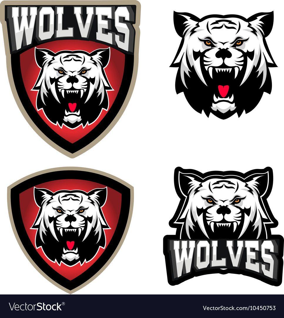 Wolves sport team logo template Mascot vector image on