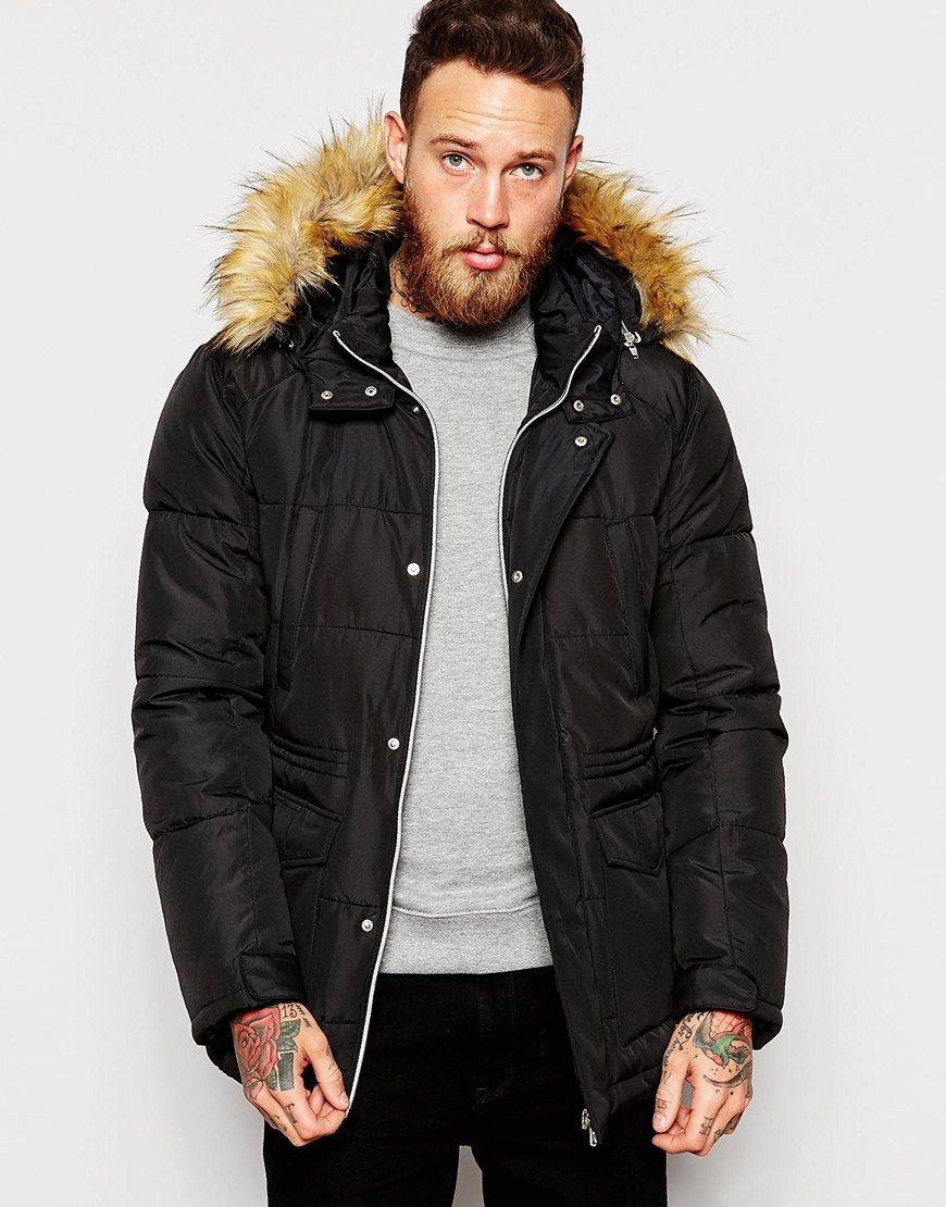 ASOS Quilted Fishtail Parka with Faux Fur Hood In Black | my style ...