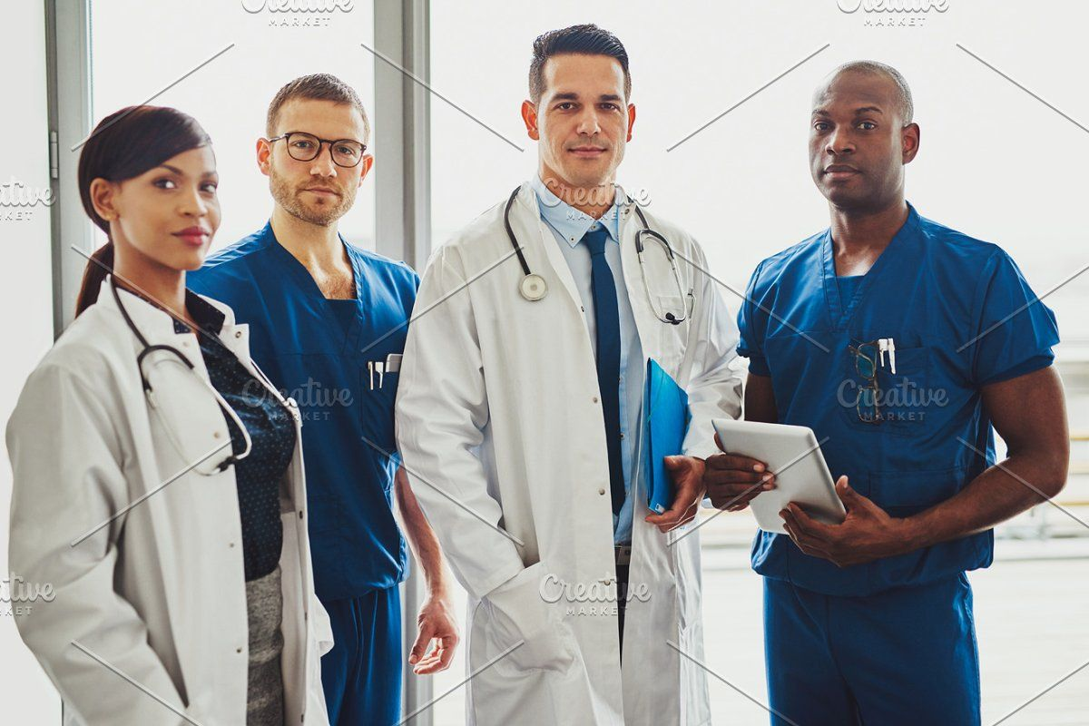Multiracial team of doctors in a hospital in 2020 Doctor