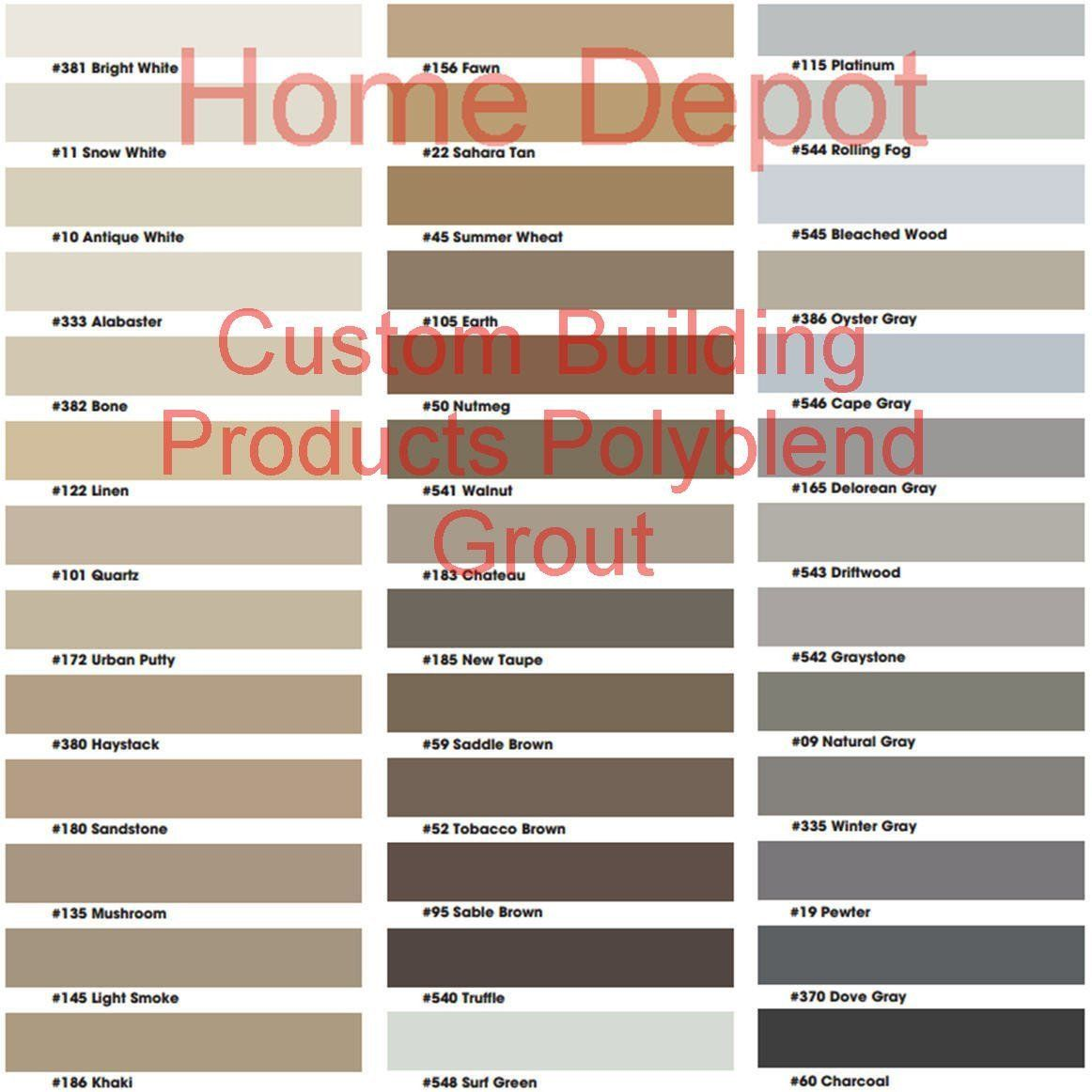 Ceramic Tile Pro Super Grout Additive Color Chart Reference