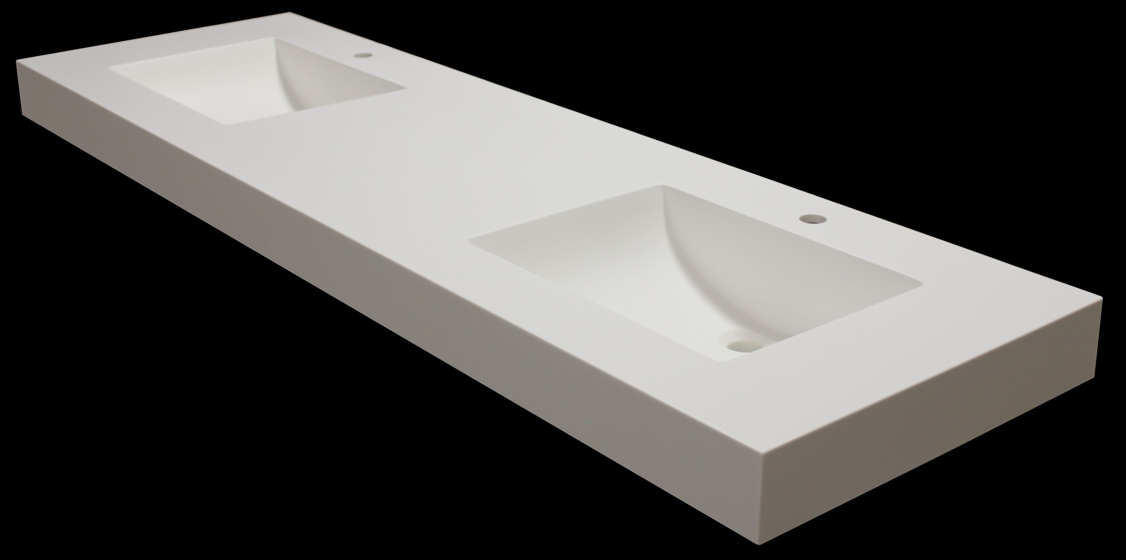 This Corian Glacier White Vanity Top Was Custom Made With Matching Therrmed Rectangular Sinks And 3 Thick Decorative Edges