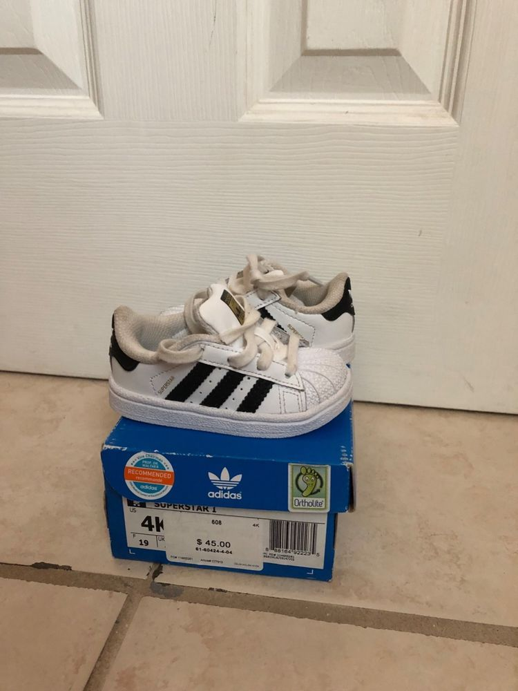 c635bc7a7caaa baby boy classic black and white adidas size 4 #fashion #clothing ...
