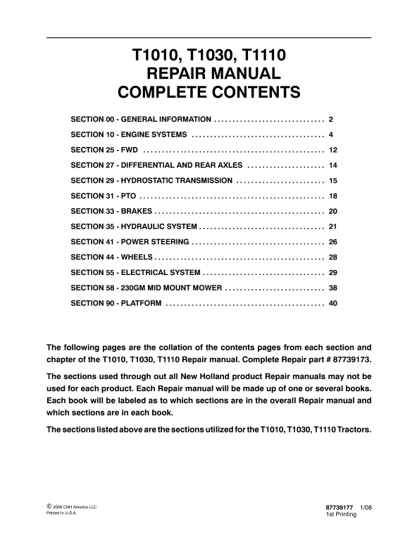 New Holland T1010, T1030, T1110 Tractor Service Manual