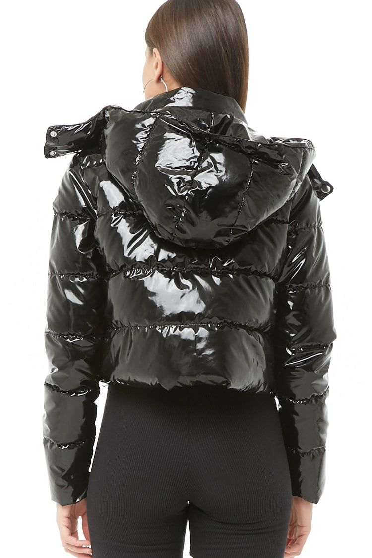 sale genuine shoes most desirable fashion Faux Patent Leather Puffer Jacket | Birthday in 2019 ...