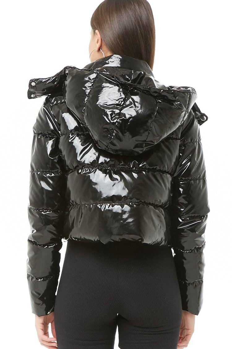Faux Patent Leather Puffer Jacket Shiny Jacket Puffer Jacket Women Classy Winter Outfits [ 1125 x 750 Pixel ]