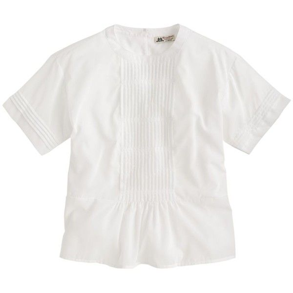 Thomas Mason For J.Crew Peasant Top ($170) ❤ liked on Polyvore featuring tops, j.crew, shirts, peplum tops, white peplum top, white top, white fitted top and pleated shirt