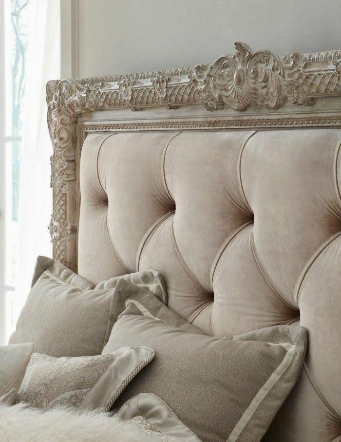 tete de lit captionn pour la chambre a coucher beige de style baroque - Lit Capitonne