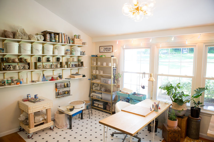 The Ceramic Studio Of Marianne Tolosa Aka White Peach Pottery She And Her Husband Converted Their Living Room Into A Pottery Studio Art Studio At Home Home