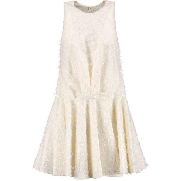 Giambattista Valli Bouclé wool and silk-blend mini dress (105740 DZD) ❤ liked on Polyvore featuring dresses, short pink dress, short loose dress, pink mini dress, loose fitting mini dress and pleated mini dress