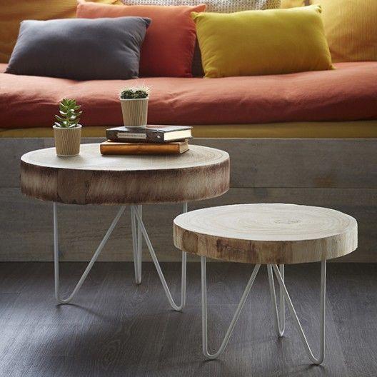 Table Rondin De Bois Canape Rustique Table Basse Bois Brut Idee Deco
