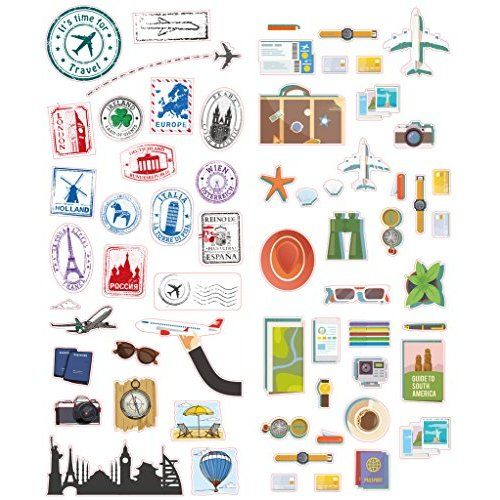 3901d1cccd62 Retro Vintage Travel Suitcase Stickers - Set of 18 Luggage Decal ...