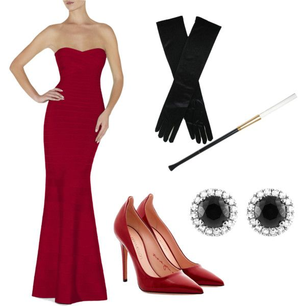 Miss Scarlett Clue Costume by mooglechan on Polyvore featuring Hervé Léger, Tamara Mellon and Beverly Hills Charm