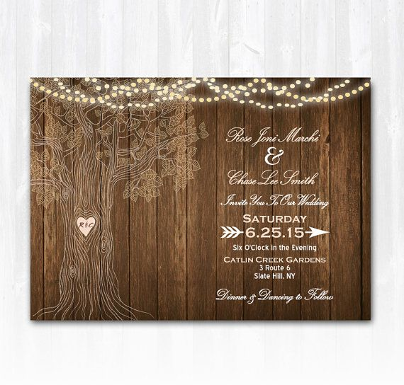 Tree Wedding Invitation Rustic Wedding Invitation String Lights - Wedding invitation templates: rustic wedding invite template