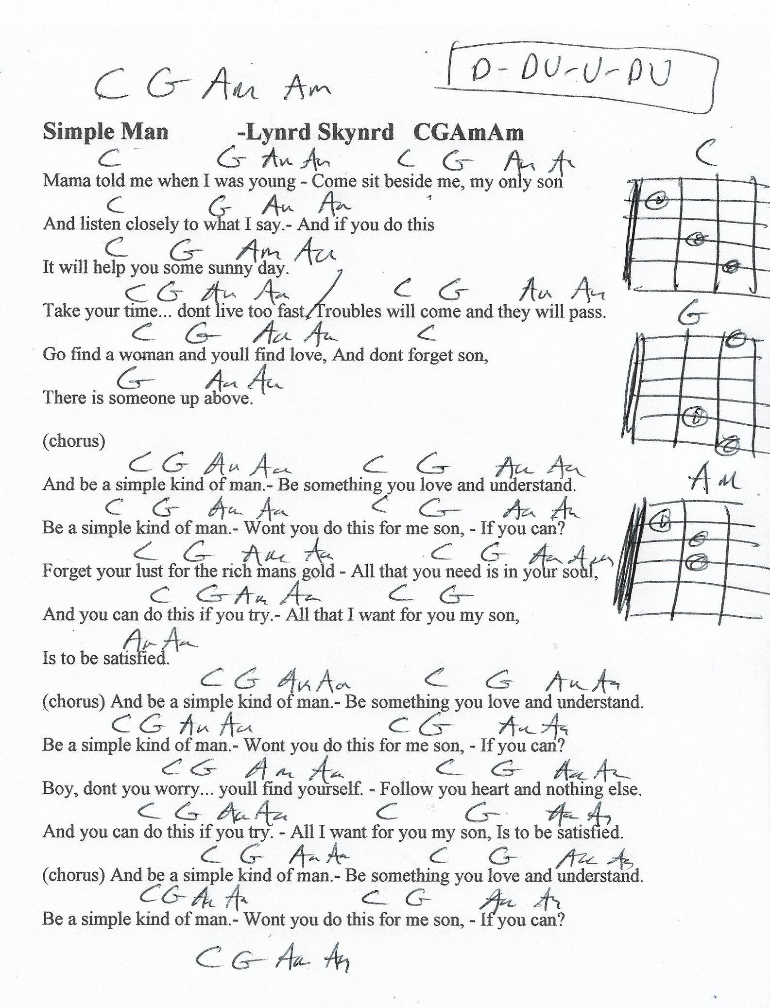 Simple Man Lynyrd Skynyrd Guitar Chord Chart   15th Strum   Piano ...