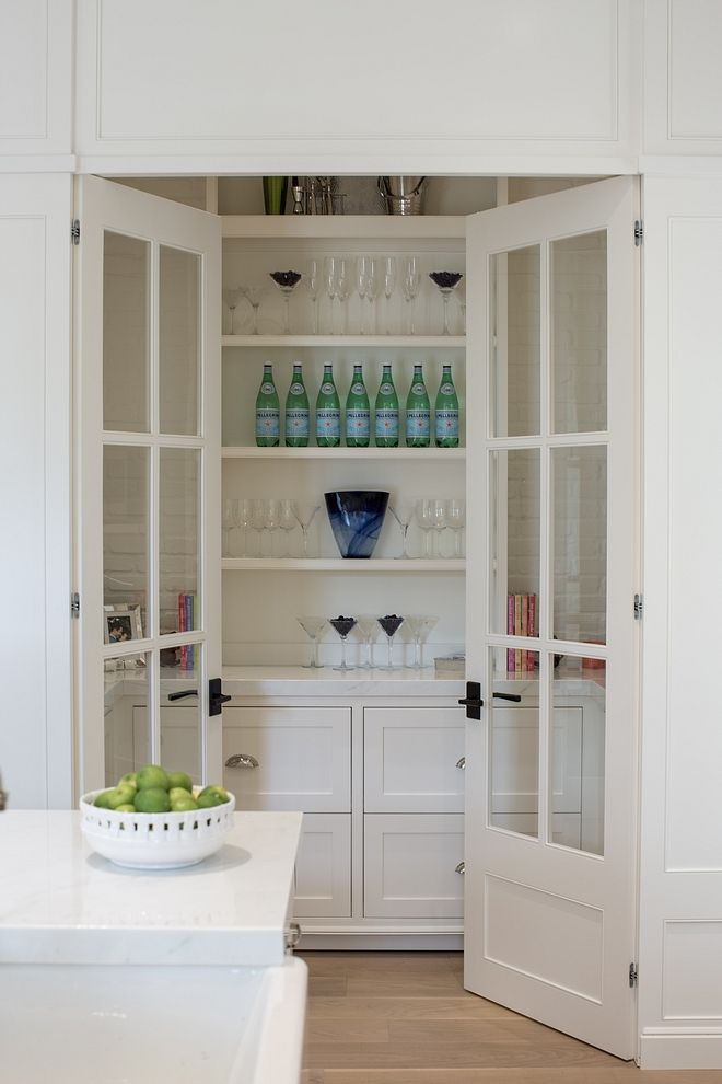 Pantry Off Kitchen With Glass Doors Open Shelves White Marble Countertop And Lower Cabinets With Draw White Pantry White Marble Countertops Glass Pantry Door