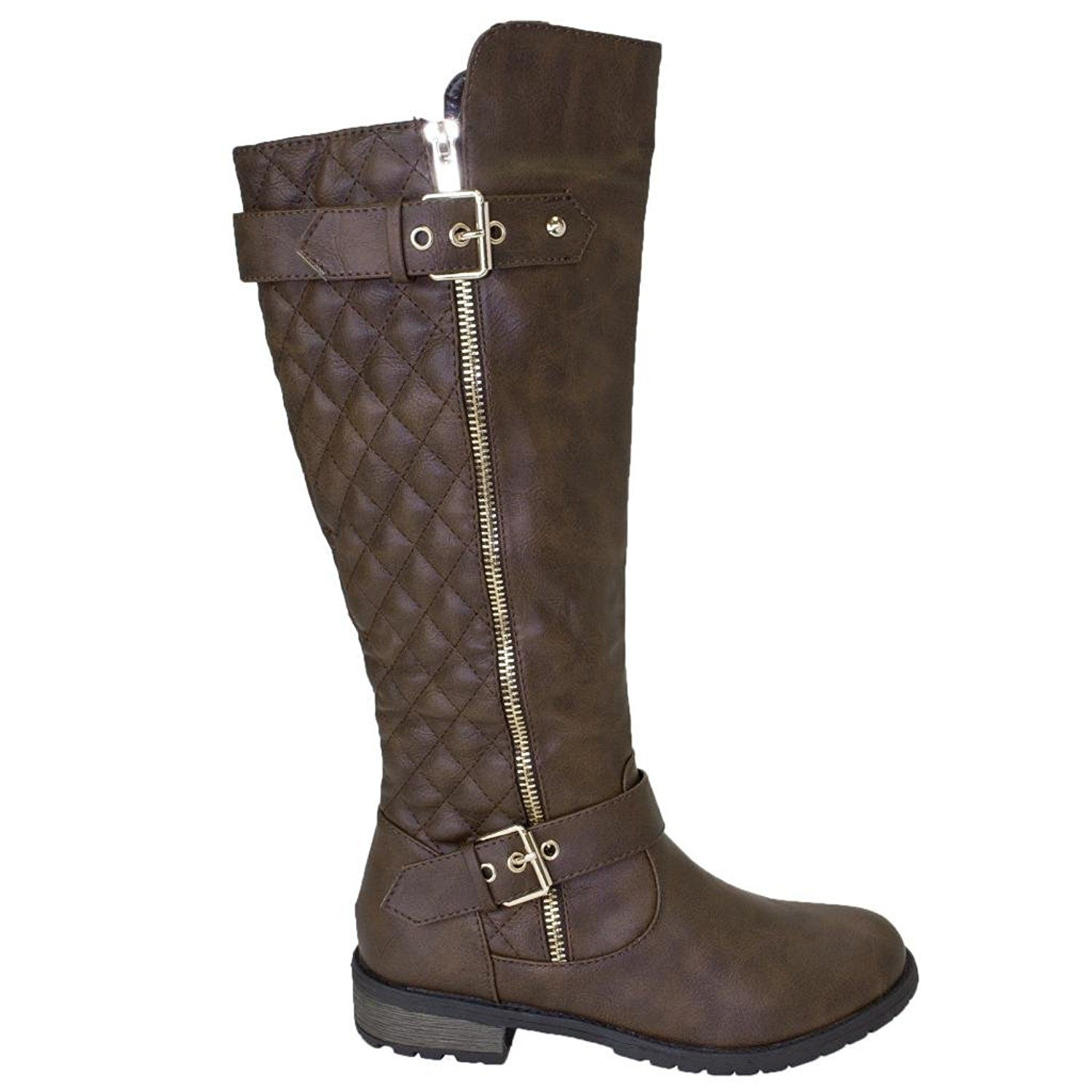 Womens Women's Zipper Quilted Buckle Knee High Riding Boots Trends SNJ Shoes Outlet Shop Size 39