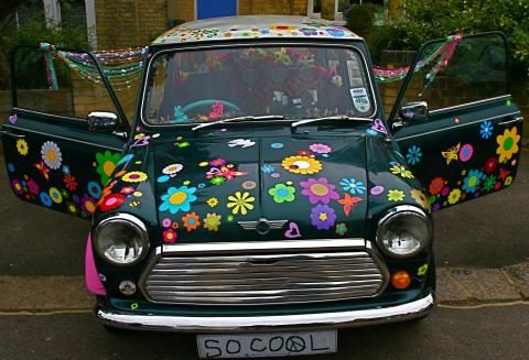 Hippy motors mini flower car stickers decals