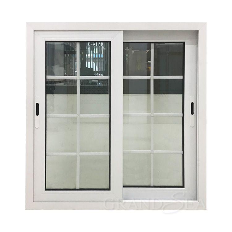 White Color Aluminum Frame Double Glass Window With Grill Design In 2020 Grill Design Window Grill Design House Window Design