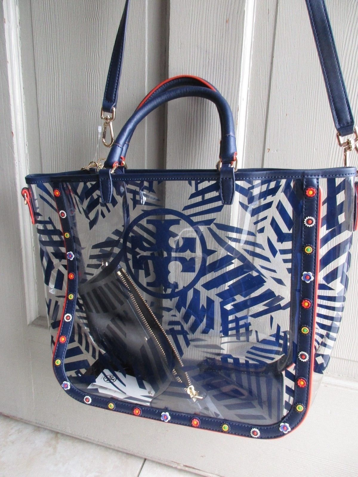 e6a54217ef9f Tory Burch blue clear Marguerite palm print clear tote bag with pouch  395