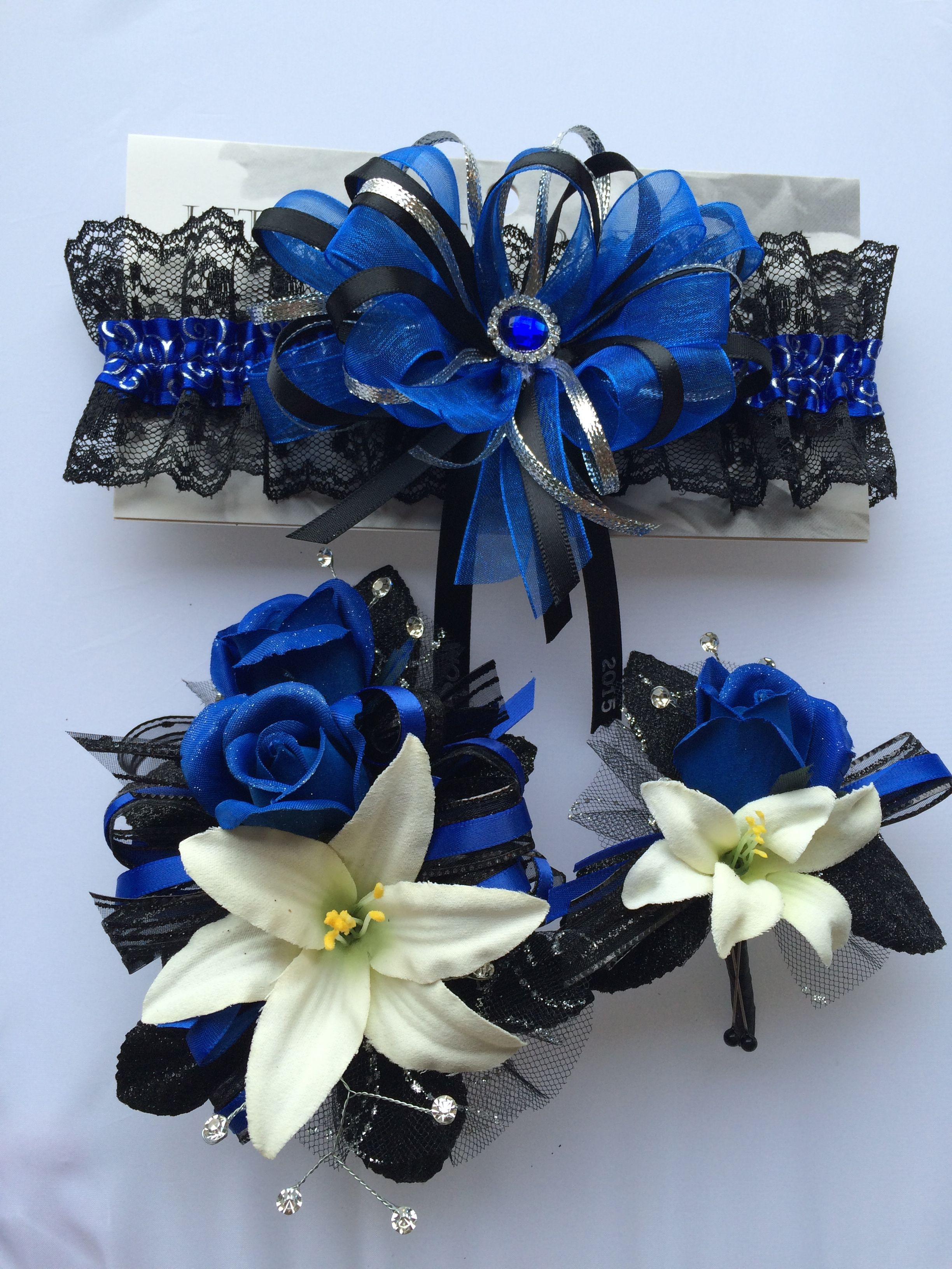 royal blue silk roses with natural white lilies