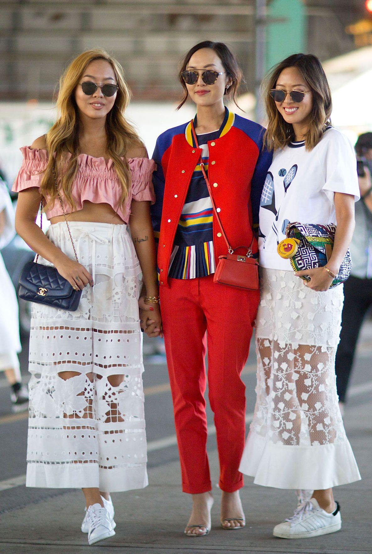 Dani Song, Chriselle Lim and Aimee Song. New York Fashion Week, Spring 2016.