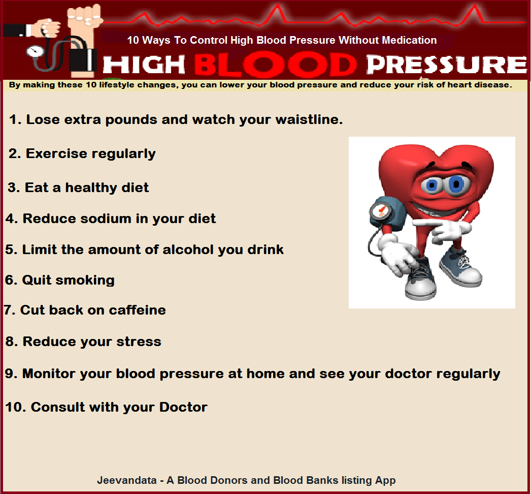 10 ways to control high blood pressure without medication: Jeevandata - A  Blood Donors and