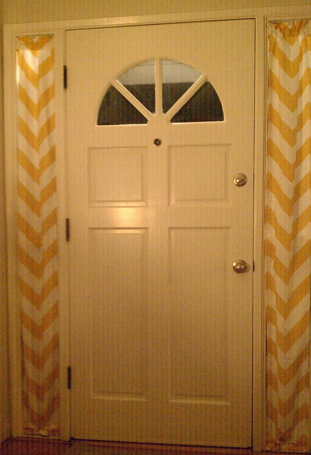 Yellow Chevron Curtains Side Light Windows Sidelight Windows Front Doors With Windows Window Treatments