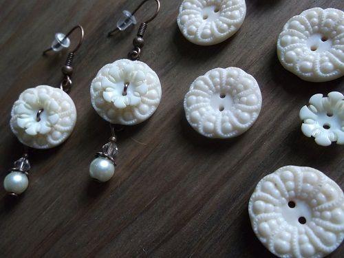 Bakelite button earrings