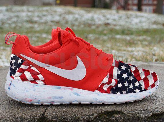 Men Sizes 9 & 13 - Nike Roshe Run Red Marble American Flag Pride V5 Edition  Custom