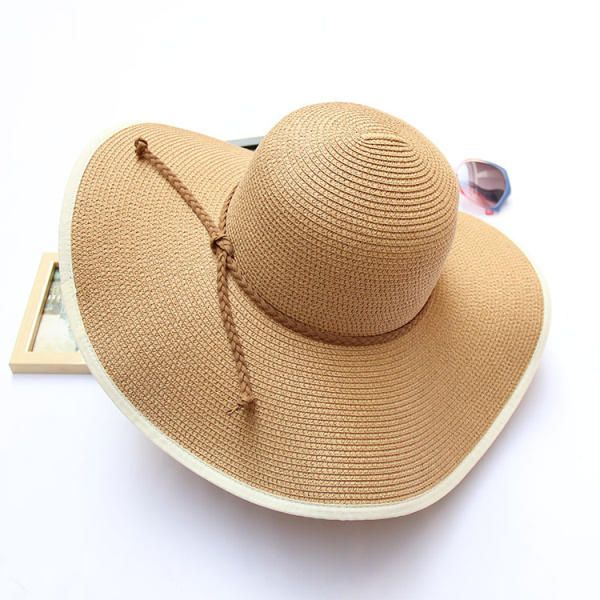 Women Summer Beach Bucket Panama Hat With Bowknot Wide Birm Cotton Dome Style