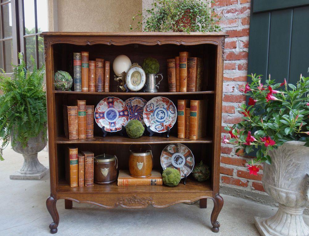 antique french carved oak bookcase bookshelf louis xv style open shelf display louisxiiixivxvxvi - Antique Looking Bookshelves
