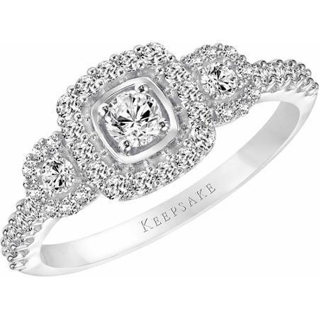 keepsake tasha 58 carat tw oval diamond 10kt white gold engagement ring - Wedding Rings At Walmart