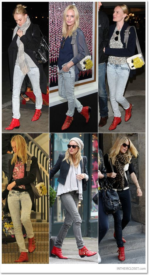 1afd378f6f14 Kate Bosworth and Sienna Miller wearing red Chloé Pre-Fall 2008 studded ankle  boots