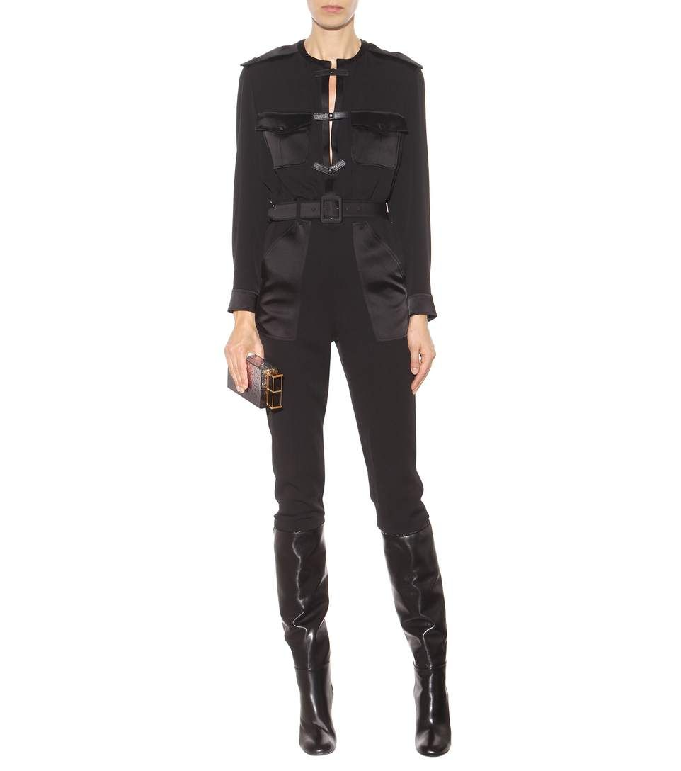 Black silk and leather jumpsuit