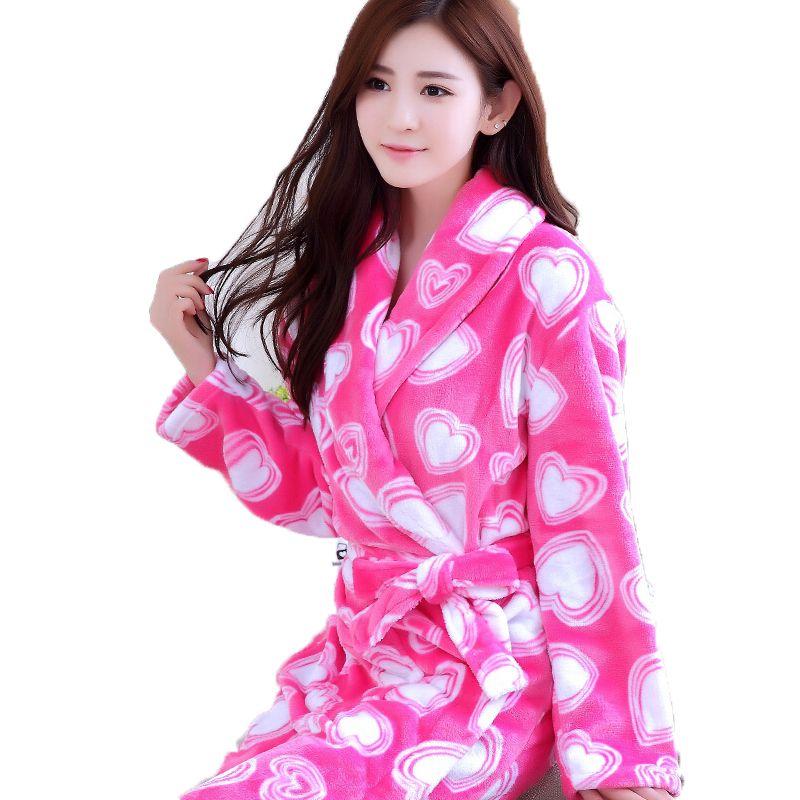 Cotton Bath Robe Female Male Flannel Bathrobes Pajamas Night Gown ...