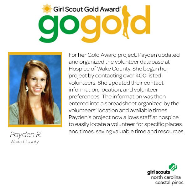 Awesome job to Payden for earning her Girl Scout Gold Award! Payden updated a volunteer database spreadsheet at a local Hospice. This now allows staff to locate volunteers in an easy manner, saving tons of time and energy! Keep up the great work, Girl Scout!