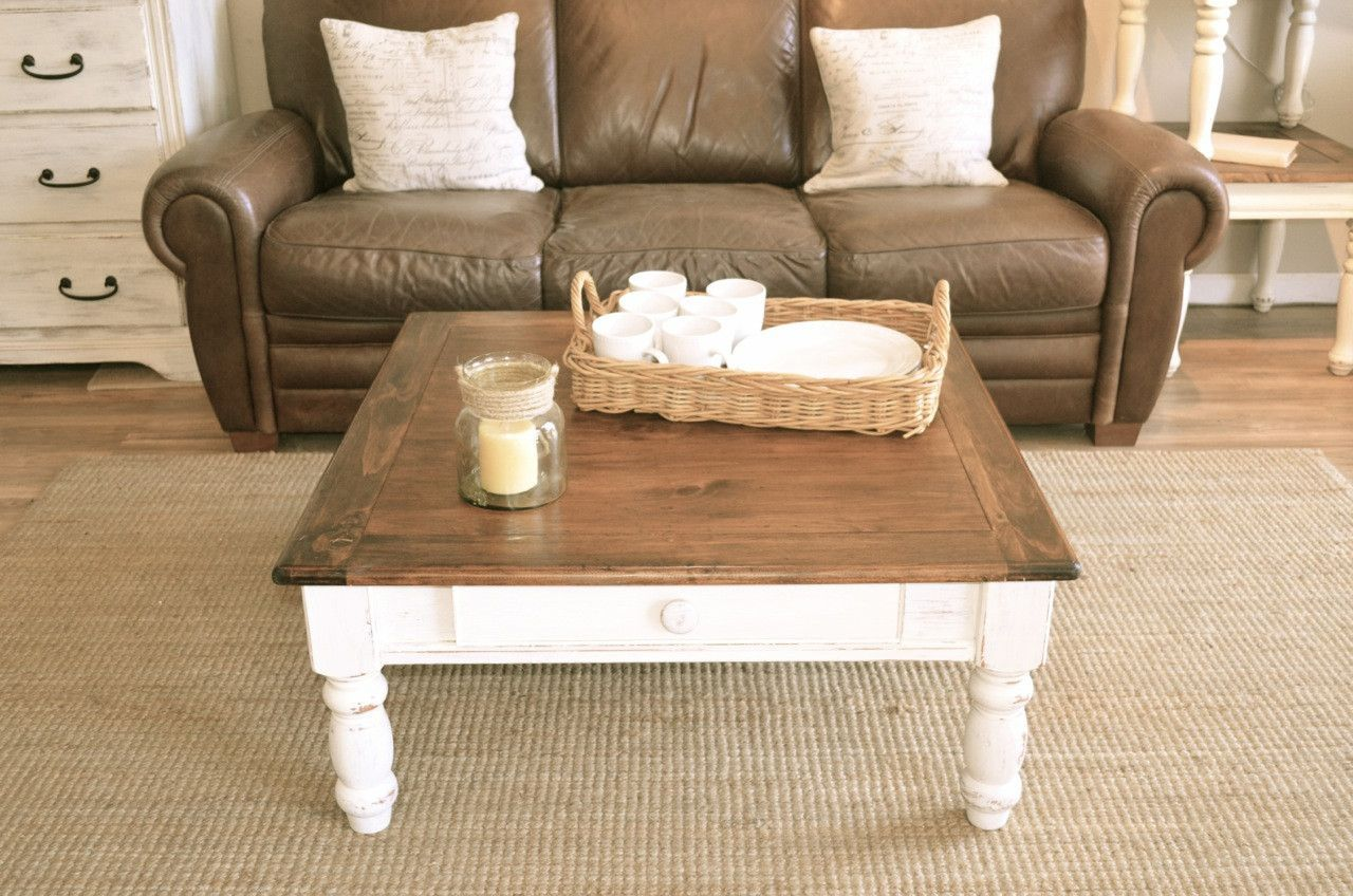 Solid Wood Brown Top Distressed White Base Coffee Table