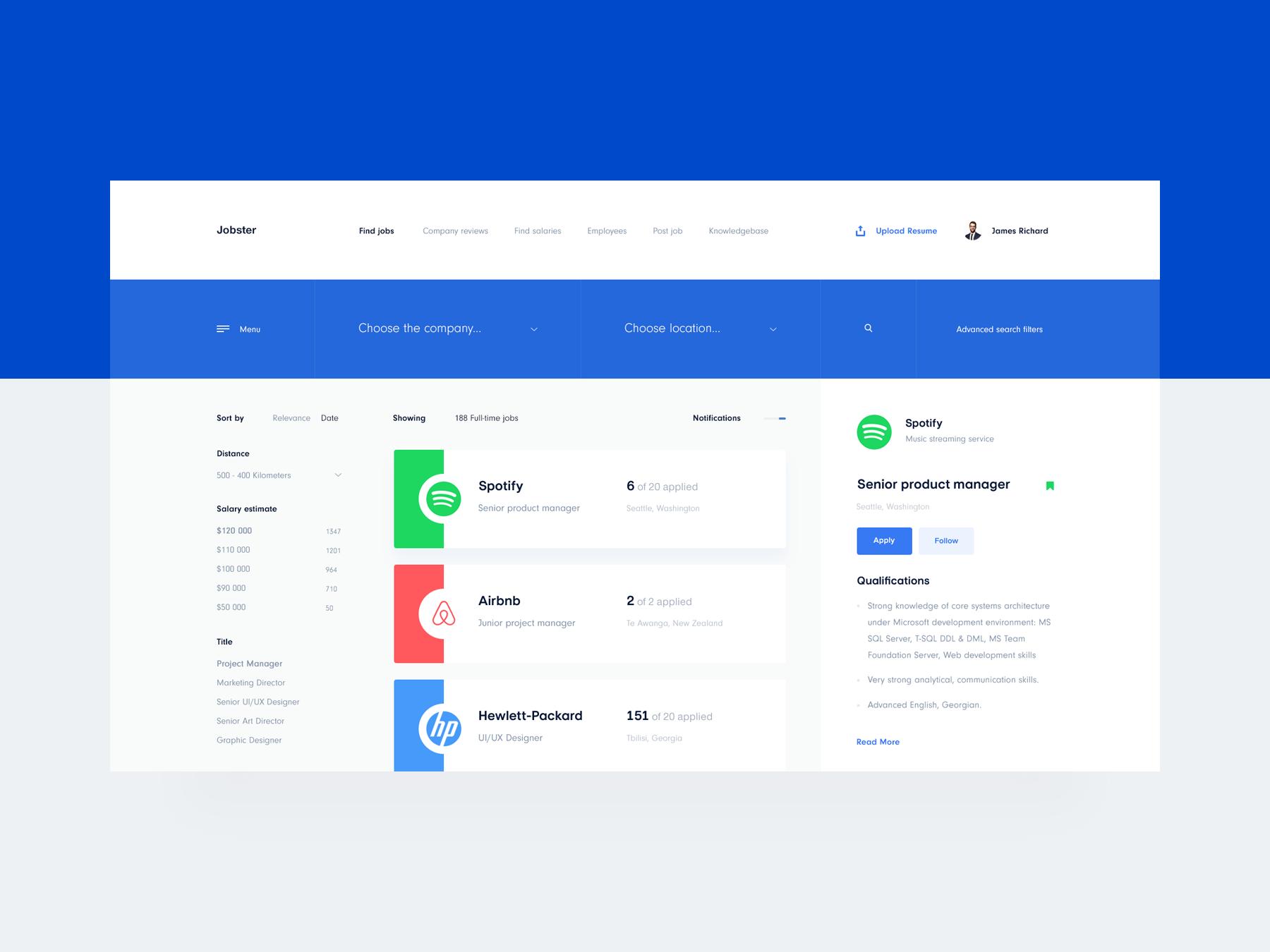Jobster Job Search Dashboard Web Design Help Job Search Job