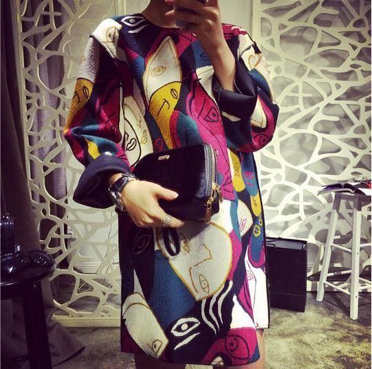 4393f8eeb430 2015 Fashion European Style Women Dress Vintage Print Graffiti Kontrast  Farba dlhým rukávom Jeseň Zima dámske šaty -v šiat z Dámske oblečenie a  doplnky na ...